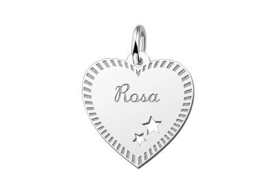 Zilveren graveerplaatje Hart met sterren en rand ketting hanger