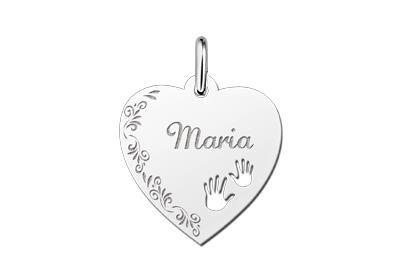 Zilveren graveerplaatje Hart met handjes en bloemenrand ketting hanger