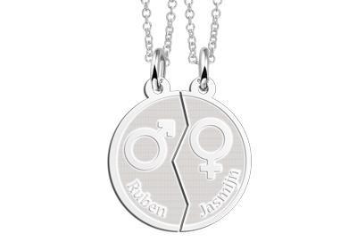 Zilveren graveerplaatje Man-Vrouw ketting hanger