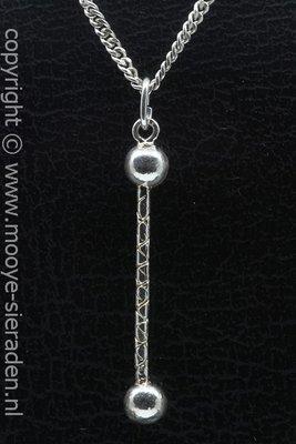 Zilveren Majorettestok ketting hanger