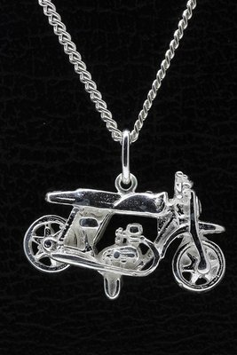 Zilveren Motor ketting hanger - 3