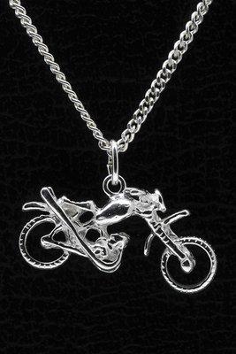 Zilveren Motorcross ketting hanger