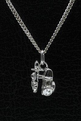 Zilveren Motor met zijspan ketting hanger - klein