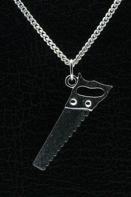 Zilveren Zaag ketting hanger - groot