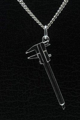 Zilveren Schuifmaat ketting hanger