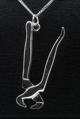 Zilveren Knijptang XL ketting hanger