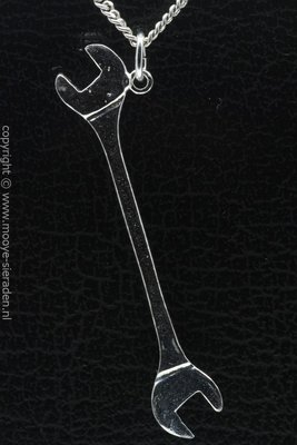 Zilveren Steeksleutel XL ketting hanger