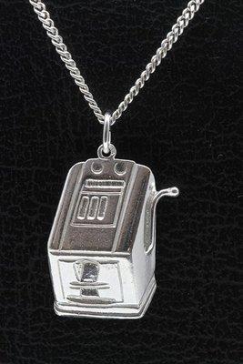 Zilveren Gokkast ketting hanger