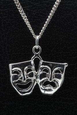 Zilveren Toneelmasker dubbel middel ketting hanger