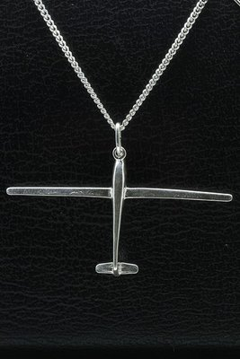 Zilveren Zweefvliegtuig ketting hanger