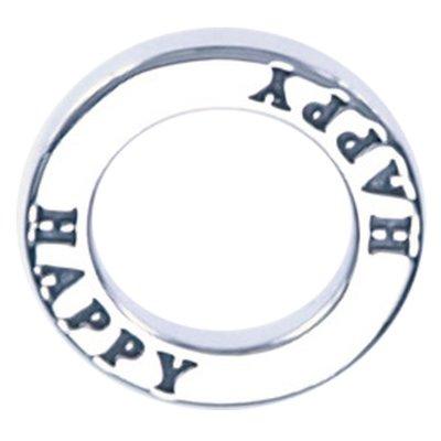 Zilveren Happy ring ketting hanger