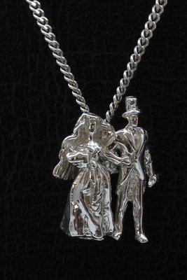 Zilveren Bruidspaar ketting hanger
