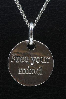 Zilveren Free your mind ketting hanger