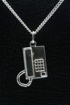 Zilveren Telefoontoestel ketting hanger