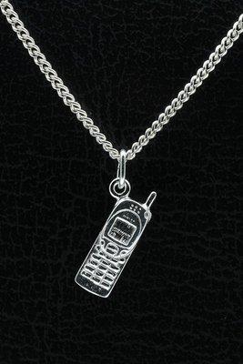 Zilveren Mobiele telefoon ketting hanger