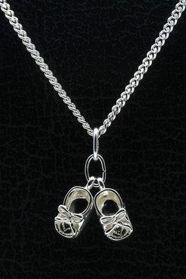 Zilveren Babyschoen ketting hanger - dubbel