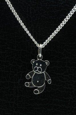 Zilveren Teddybeer ketting hanger