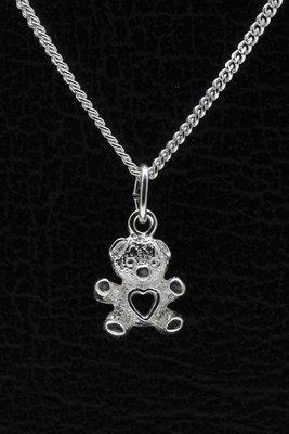 Zilveren Teddybeer ketting hanger - met hart