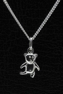 Zilveren Teddybeer ketting hanger - 2