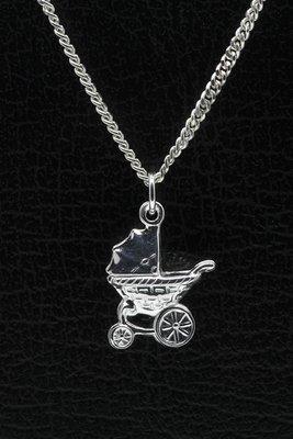 Zilveren Kinderwagen ketting hanger