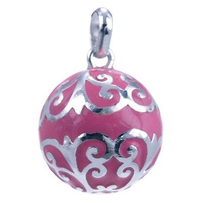 Zilveren Zwangerschap klankbal ketting hanger - roze