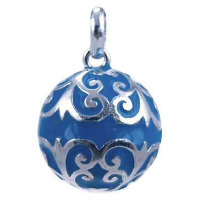 Zilveren Zwangerschap klankbal ketting hanger - blauw