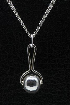 Zilveren Rammelaar massief ketting hanger