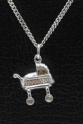 Zilveren Kinderwagen - Poppenwagen ketting hanger