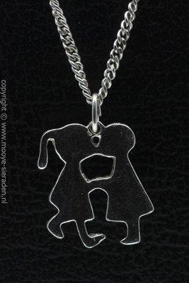 Zilveren Jongen en meisje ketting hanger