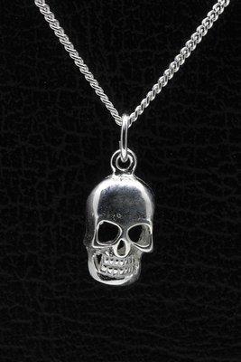 Zilveren Doodskop ketting hanger