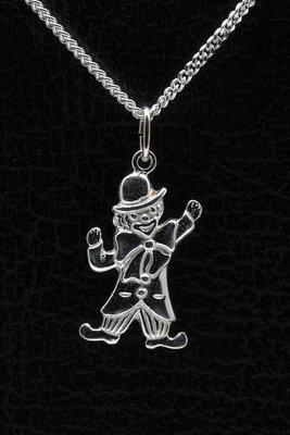 Zilveren Clown ketting hanger