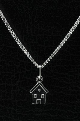 Zilveren Huisje ketting hanger