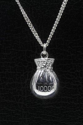 Zilveren Geldbuidel ketting hanger