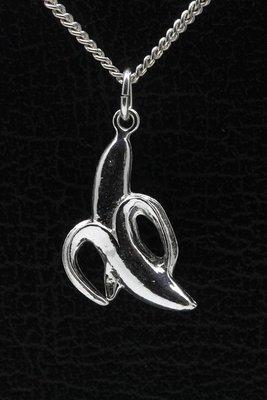 Zilveren Banaan ketting hanger - open