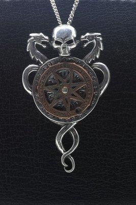 Zilveren Doodskop met kompas draaiend XL ketting hanger