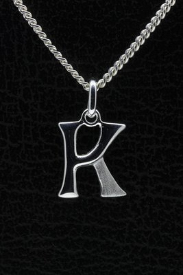 Zilveren Letter H ketting hanger - mat/glans