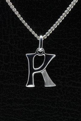 Zilveren Letter K ketting hanger - mat/glans