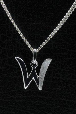 Zilveren Letter W ketting hanger - mat/glans