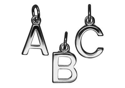Zilveren Blokletter V massief ketting hanger - gepolijst