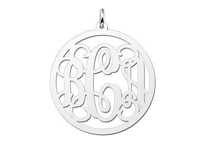 Zilveren Monogram 1 tot 3 Letters ketting hanger - groot