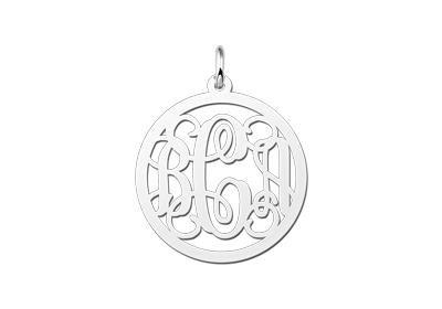 Zilveren Monogram 1 tot 3 Letters ketting hanger - middel