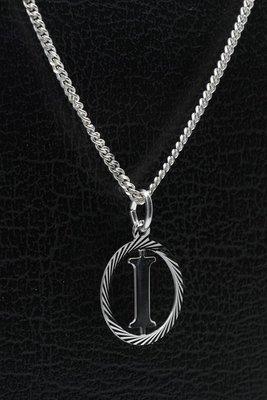 Zilveren Letter I ketting hanger - rond