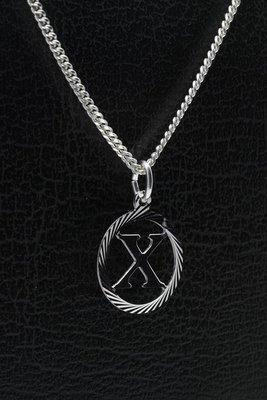 Zilveren Letter X ketting hanger - rond