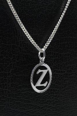 Zilveren Letter Z ketting hanger - rond