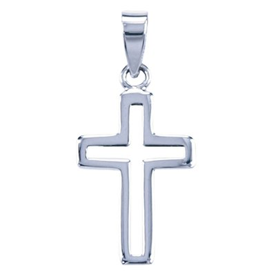Zilveren Kruis opengewerkt ketting hanger