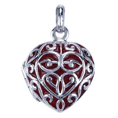 Zilveren Foto medaillon ketting hanger - hartje 16mm rood - 2 foto's