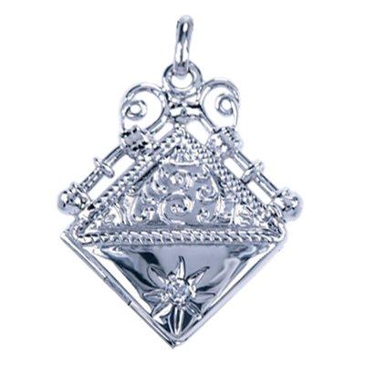 Zilveren Foto medaillon vierkant ketting hanger - zirkonia helder - 2 foto's