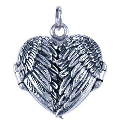 Zilveren Foto medaillon hart ketting hanger - Vleugels - 1 foto