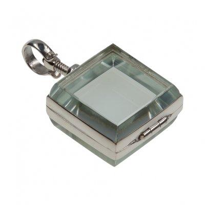 Zilveren Foto medaillon in glas vierkant ketting hanger - 2 foto's