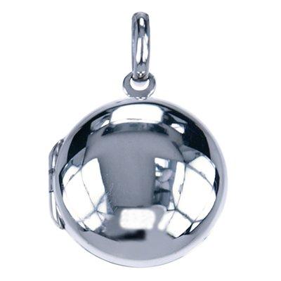 Zilveren Foto medaillon Rond glad ketting hanger